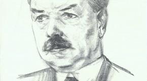 Tecknad porträttbild på Gustav Rosen av CM Lindqvist