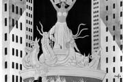 Filmaffisch: Metropolis (svartvit tecknad bild av höghus och i mitten en kvinna i huvudbonad, bikiniöveredel och nån slags bastkjol))
