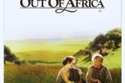 Filmaffisch: Mitt Afrika (i förgrunden en kvinna och en man, i bakgrunden landskapsbild)
