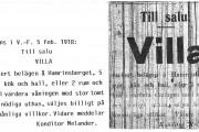 annons ur VF år 1918, Villa Utsikten till salu