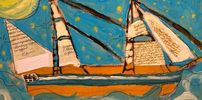 Målning av båt från skolprogrammet Skepp O'hoj. Elever har hämtat inspiration ur arkiven.
