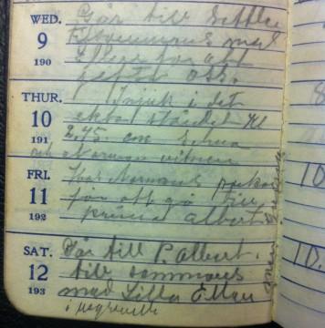 Del av uppslag i Hjalmars almanacka från 1913, när han gifter sig med Ellen.