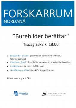"""Programblad för """"Burebilder berättar"""" tis 23/2 kl.18 på Nordanå i Skellefteå"""