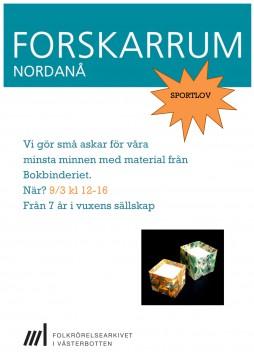 Affisch, sportlovsaktivitet på Forskarrum Nordanå 9 mars kl. 12-16