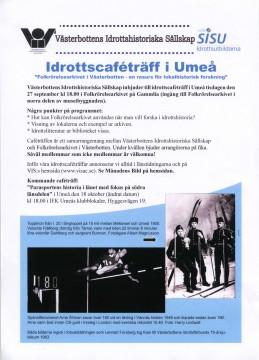 Affisch. Idrottscafé på Folkrörelsearkivet i Västerbotten, på Gammlia, den 27/9 kl. 18.00 Gratis inträde och fika!